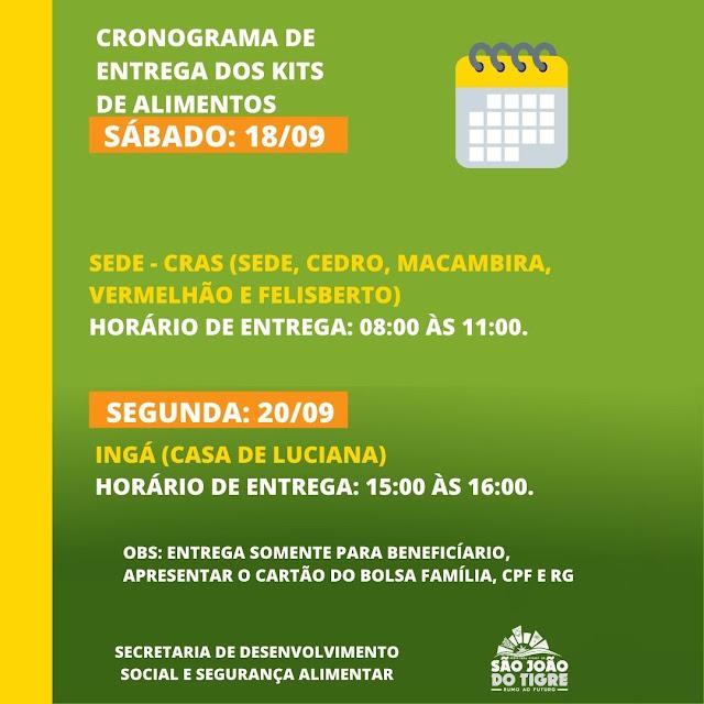 3 Prefeitura Municipal de São João do Tigre realiza a partir desta sexta mais uma entrega de castas básicas à população