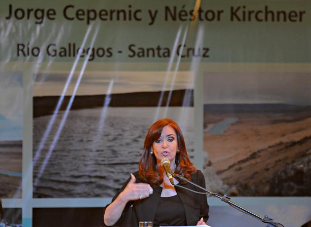 La Presidenta de la Nación en uno de los anuncios de la construcción de las represas sobre el Río Santa Cruz - Foto: OPI Santa Cruz/Francisco Muñoz