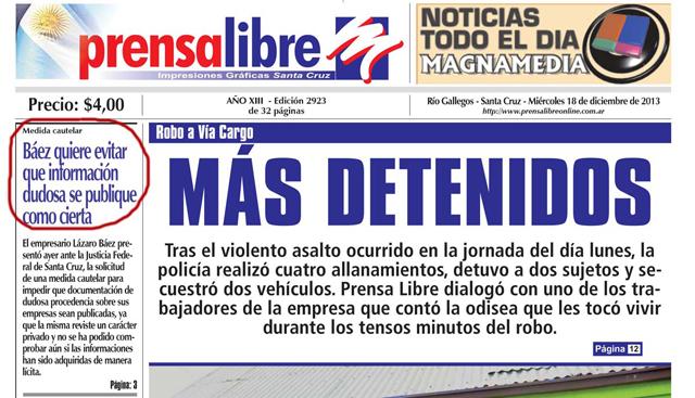 La tapa de Prensa Libre de Lázaro Báez de hoy - Foto: