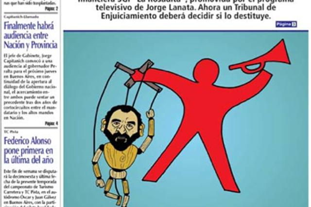 La tapa del diario de Lázaro Báez de hoy - Foto: