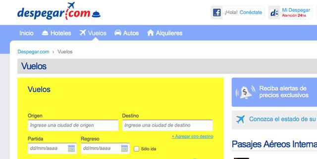 La website de Despegar.com - Foto: