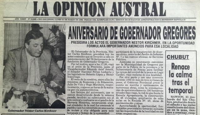 La tapa del diario La Opinión Austral del 24 de marzo de 1992 - Foto: