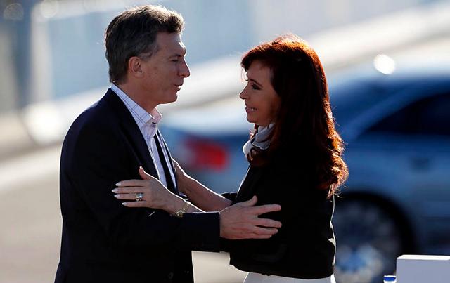"""Cristina Kirchner junto a Mauricio Macri, en el acto de la autopista Illia: """"No hay pacto ni nada, simplemente sentido común"""" - Foto: La Nación"""