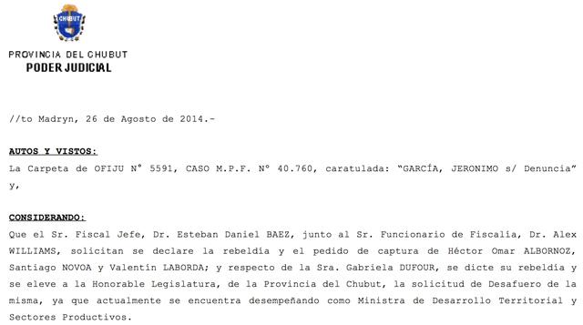 """La ministro Dufour fue declarada """"en Rebeldía"""" y los funcionarios miembros del Comité de Alpesca con pedido de captura"""