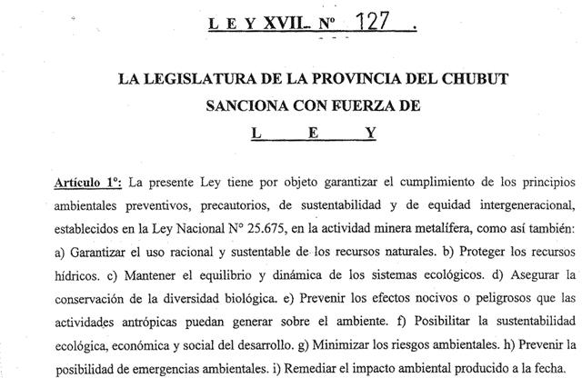 El proyecto aprobado por la legislatura de Chubut no menciona en ningún artículo la prohibición de la actividad minera