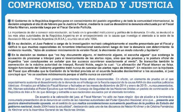 """Con una polémica solicitada, el Gobierno acusa a Nisman de haber buscado """"un efecto político desestabilizador"""""""