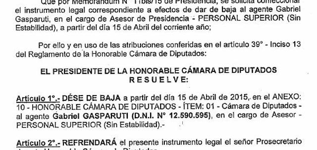 Confirmado: Gabriel Gasparutti cobró de la Cámara de Diputados hasta el mes de abril de 2015