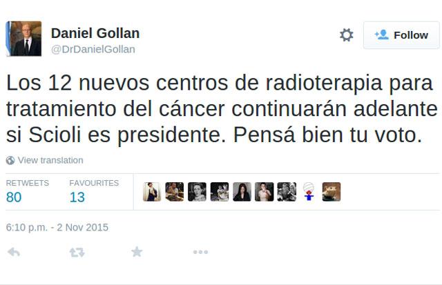 Daniel Gollán dijo que hay que votar por Scioli para que no cierren los centros oncológicos.