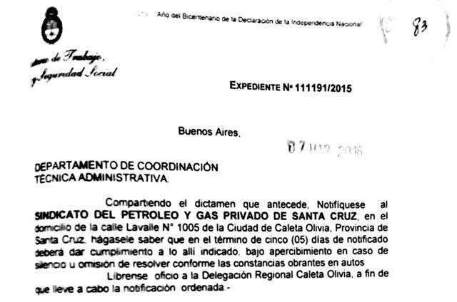 Intiman a Claudio Vidal de Petroleros Privados  a entregar Memoria y Balance del sindicato