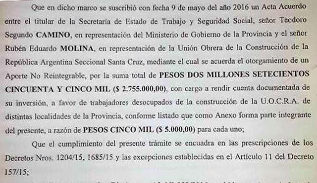 Alicia Kirchner dispuso $ 2.755.000,00 para los desocupados de la UOCRA