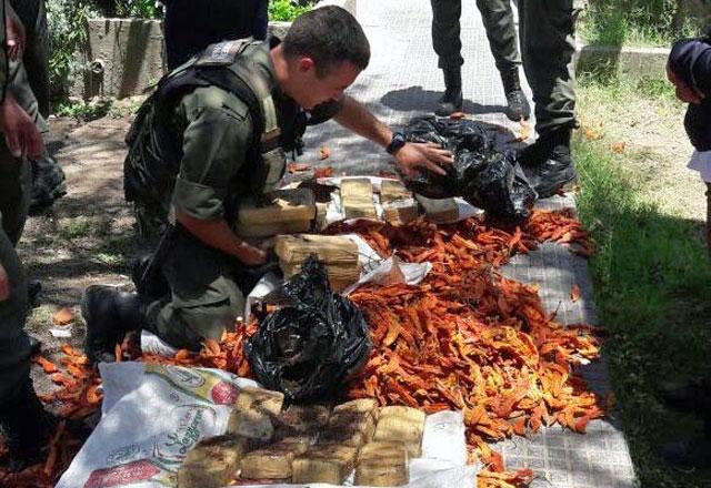 Encuentran 55 kilos de cocaína escondidos en bolsas de ajíes