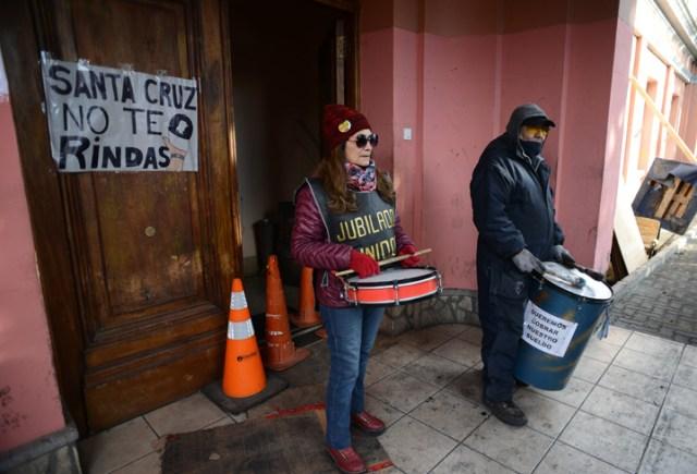 Movilización de la Mesa de Unidad Sindical a casa de gobierno este mediodía – Foto: OPI Santa Cruz/Francisco Muñoz