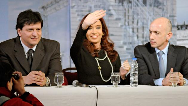 Mauricio Gomez, la Presidenta de la Nación Cristina Kirchner y Fernando Cotillo - Foto: OPI Santa Cruz/Francisco Muñoz