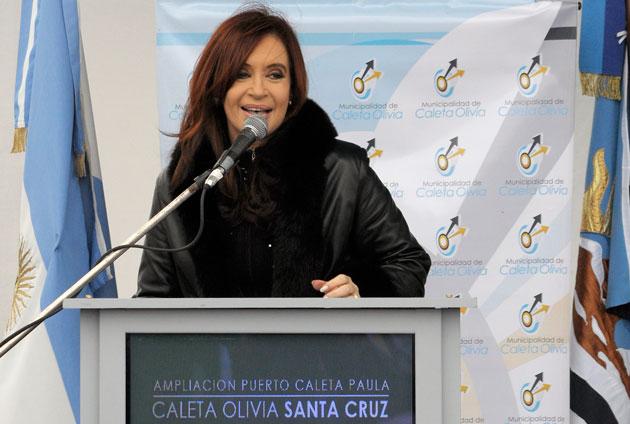 La Presidenta de la Nación Cristina Fernández de Kirchner en su última visita a Caleta Olivia - Foto: OPI Santa Cruz/Francisco Muñoz