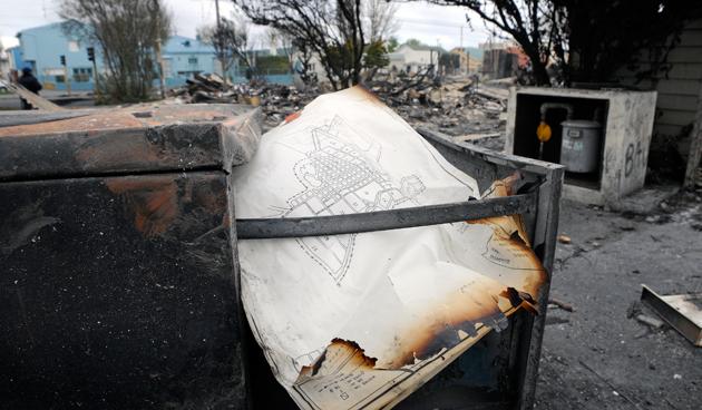 El edificio de planeamiento totalmente destruido - Foto: OPI Santa Cruz/Francisco Muñoz
