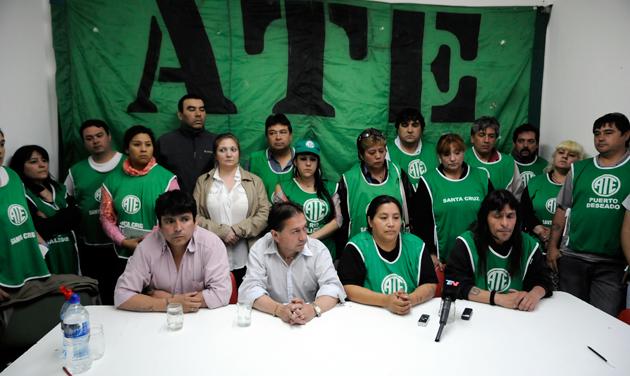 La conferencia de prensa esta tarde en ATE - Foto: OPI Santa Cruz/Francisco Muñoz
