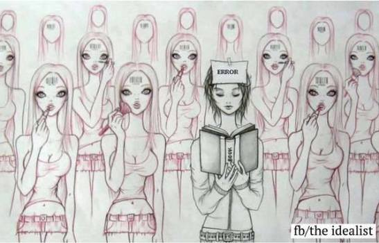 girl reading in crowd