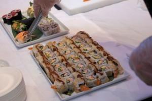 Sushi-Präsentation an Bord