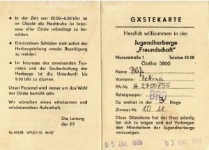 Gästekarte Gotha - in der Jugendherberge in der DDR