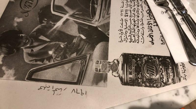 4711 Werbung auf Telleruntersetzer in Restaurant in Abu Dhabi