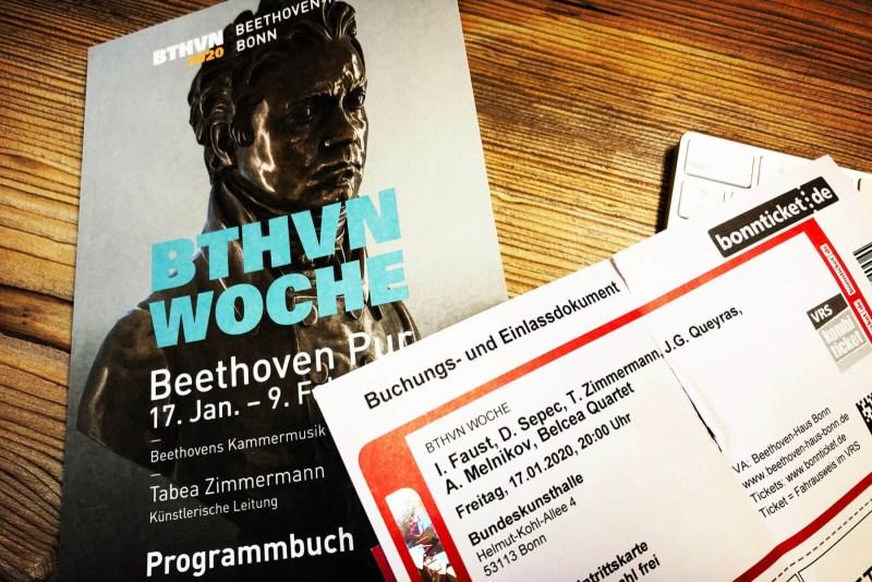 Beethoven Pur: Programm und Einlasskarte