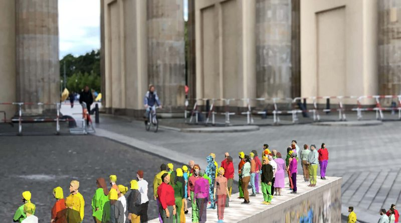 Mit der App MauAR am Brandenburger Tor
