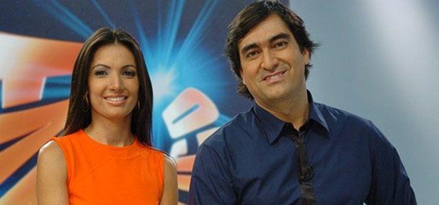 Patrícia Poeta e Zeca Camargo à frente do Fantástico (Foto: TV Globo)