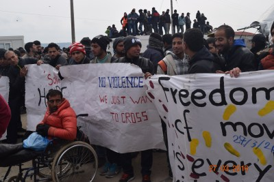 Refugee protest in Idomeni at Greek-Macedonian border