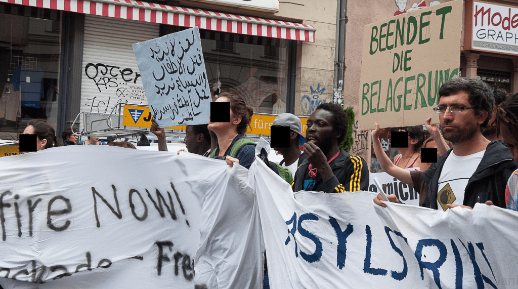 demonstration in solidarity with palestinian refugees by Berlin refugee movement
