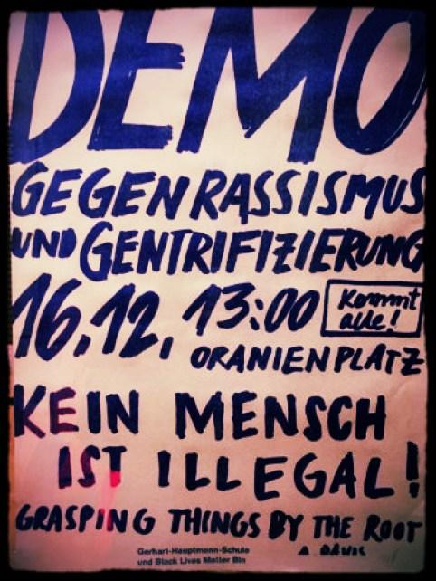 Flyer - Demo gegen Rassismus und Gentrifizierung, Samstag 16.12.2017. 13h Oranienplatz