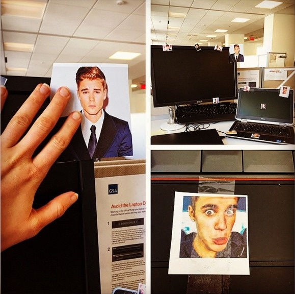 Bieberize your co-worker's cubicle.
