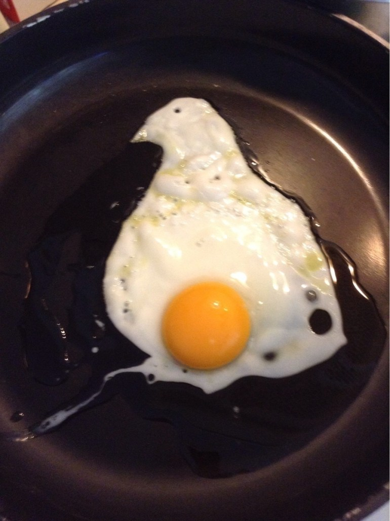 Ironically, this egg looks like a pregnant bird.