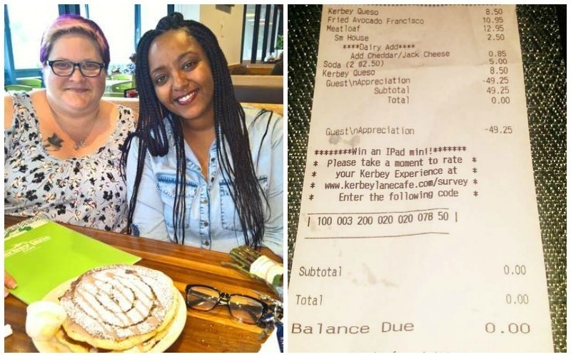 One waitress was incredibly moved by a couple's life story -- they told her all about their ups and downs. At the end of their meal, the waitress took it upon herself to foot the bill.