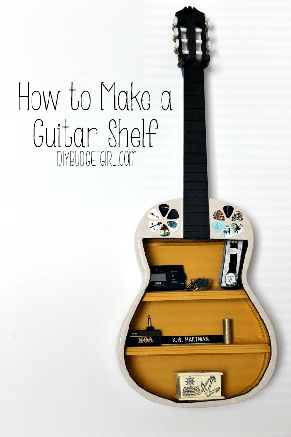 Get rid of the strings and turn a broken guitar into a unique shelf.