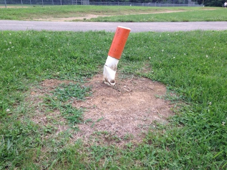 When a crushed pylon looks like a crushed cigarette.