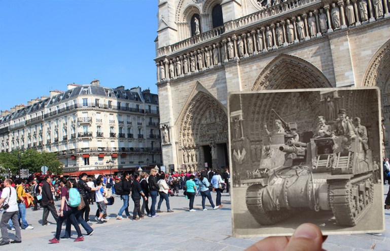 A tank outside of the Notre Dame Cathedral.