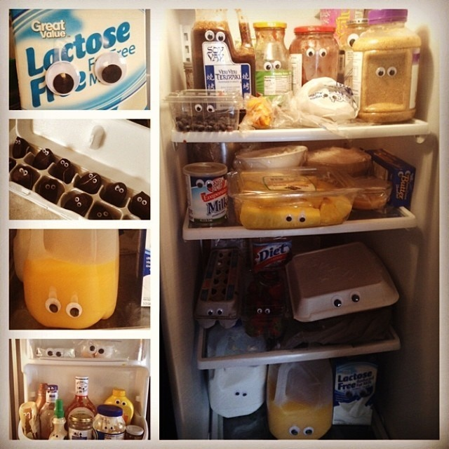 Glue googly eyes onto all the food in the fridge.