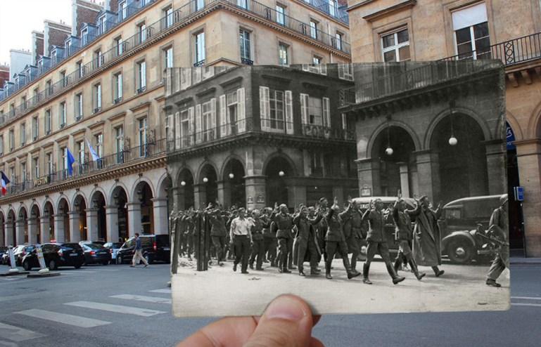 Surrendering soldiers in the Rue de Castiglione.