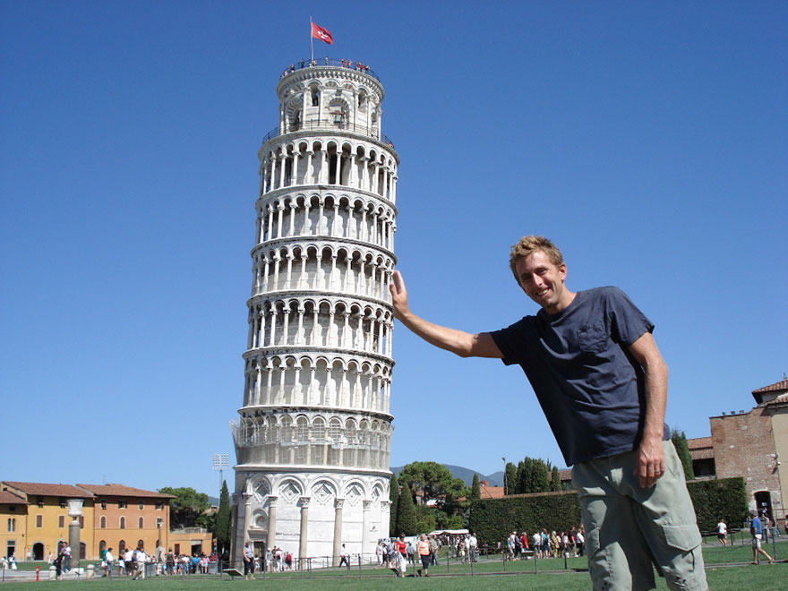 Taking Photos With Leaning Tower Of Pisa In Italy