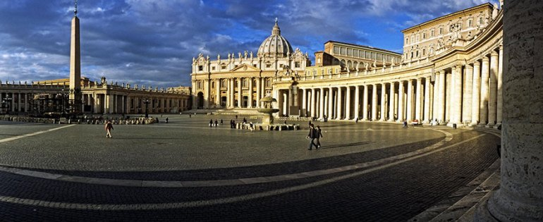 Enjoying St. Peter's Square Before Entering The Beautiful Basilica In Vatican City