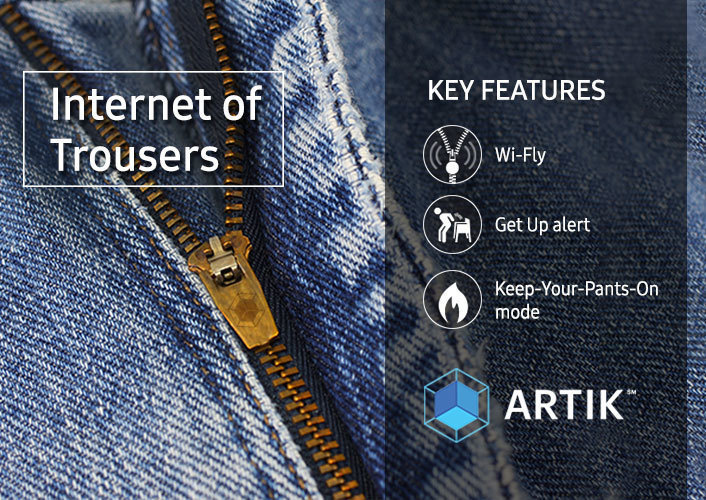 Samsung knows fashion. These smart garments will notify wearers when their fly is down, are inactive for too long, and will even send notification to the fridge to lock its door when pants are fitting too tight.
