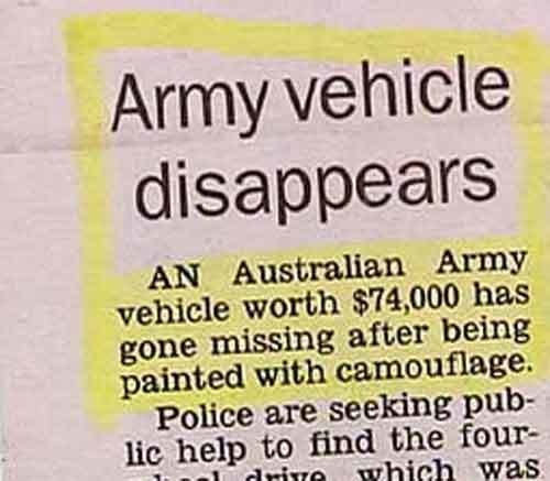 When camouflage works better than you thought it would.
