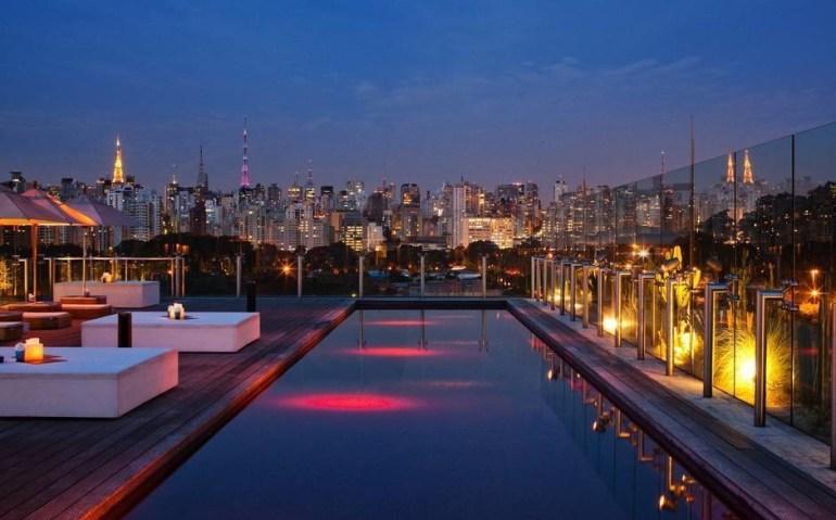 The Skye Bar Hotel Unique overlooks the gorgeous Jardim Paulista in Sao Paulo, Brazil.