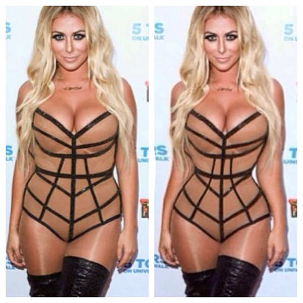 Aubrey O'Day's lovely curves manipulated out of the photo.