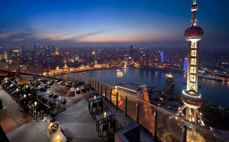 The 58th floor view in the Ritz-Carlton Shanghai in China.