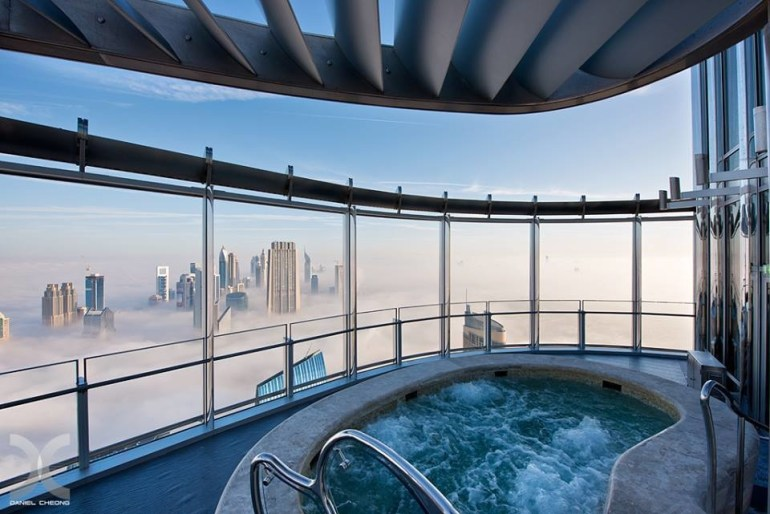 A hot tub that's above the clouds.