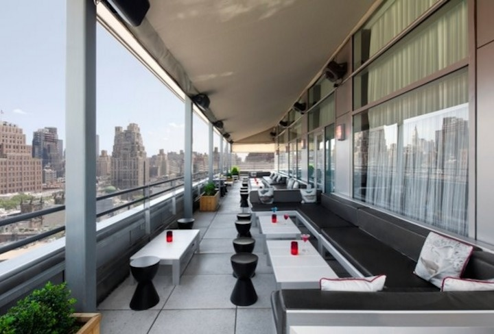 The Plunge Rooftop Bar + Lounge on the Hotel Gansevoort in New York City overlooks the Hudson River.