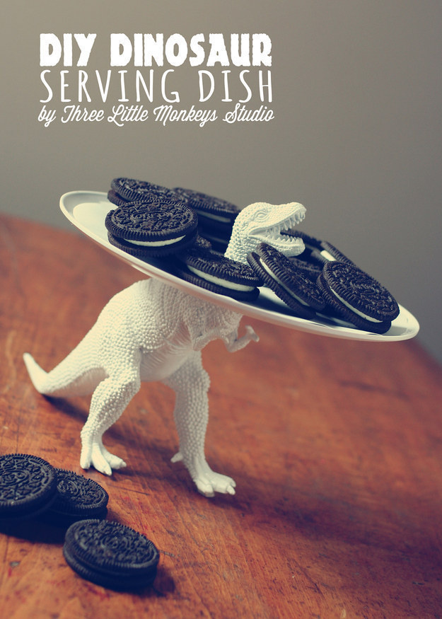 Turn an old dinosaur toy into a cool dinosaur serving dish.