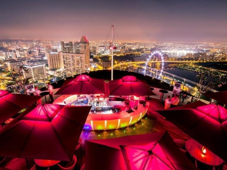 Guests enjoy Singapore's skyline at the Ce La Vi.