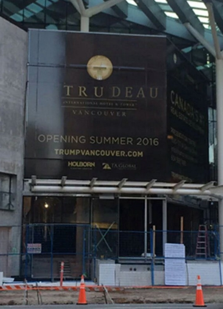 "Vancouver's upcoming Trump Tower got a better name; the Canadian Prime Minister's ""Trudeau Tower."""